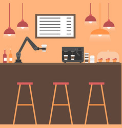 Flat coffee house interior with modern robot arm vector