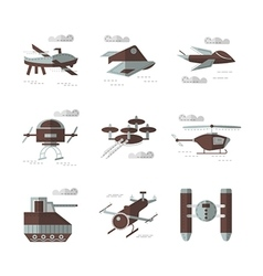 Flat color icons for military robots vector