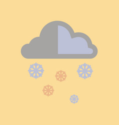 Flat icon on stylish background cloud snow vector
