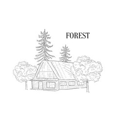 Forest and wooden cabin wild countryside vector