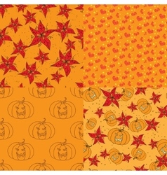 Four warm seamless pattern with floral elements vector image
