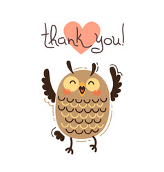 funny owl says thank you in vector image