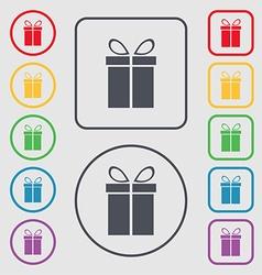 Gift box sign icon Present symbol Symbols on the vector image