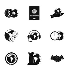 Global plan icon set simple style vector