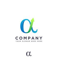 Gradient growth alpha finance logo icon template vector