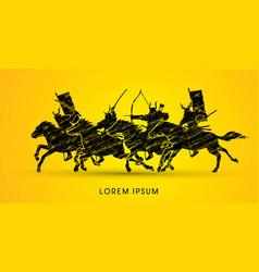 Group samurai warriors riding horses vector
