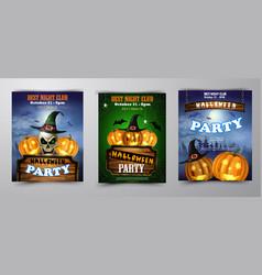 halloween vertical background with pumpkins vector image