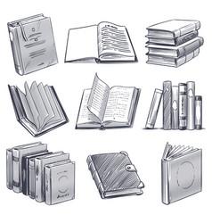 hand drawn book retro sketch engraving monochrome vector image
