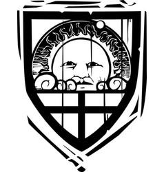 Heraldic shield sun face vector