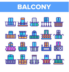 house balcony forms linear icons set vector image