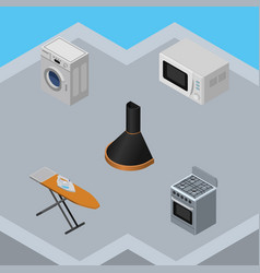 Isometric appliance set of laundry cloth iron vector