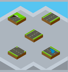 Isometric road set of plash rightward subway and vector