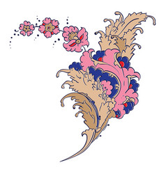 Iznik style floral drawing vector