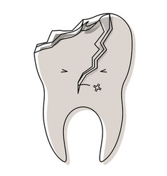 Kawaii tooth with root and broken in watercolor vector