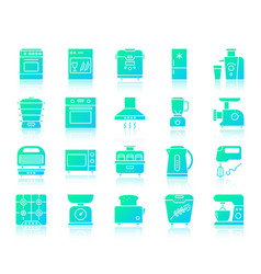 kitchen appliance simple gradient icons set vector image
