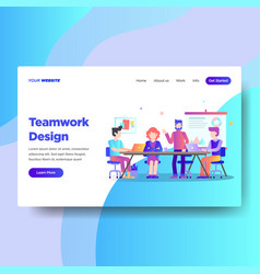 Landing page template of teamwork design vector