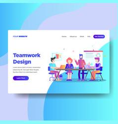 landing page template of teamwork design vector image