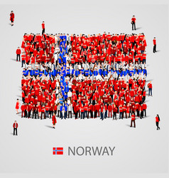 Large group of people in the norway flag shape vector