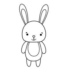 Line cute and happy rabbit wild animal vector