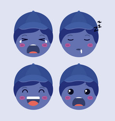 little blue boys emoticon set kawaii characters vector image
