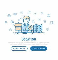 Location concept man is looking for direction vector