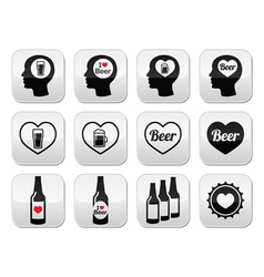 Man loving beer buttons set vector image