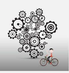 man on bicycle with cogs gears on background vector image