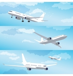 Modern airplane flying through clouds set vector