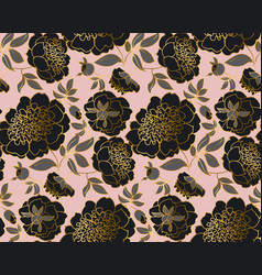 modern concept black peony flower pattern vector image