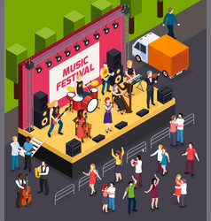 music festival isometric composition vector image