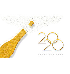 new year 2020 gold glitter champagne bottle card vector image