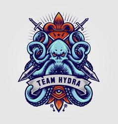 octopus kraken badge logo hydra vector image