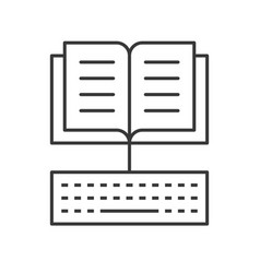 Open book and keyboard icon e learning concept vector
