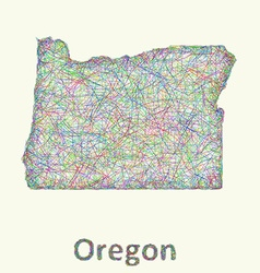 Oregon line art map vector
