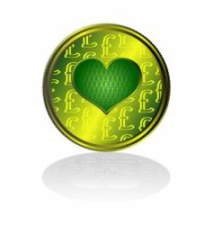 Pound sterling heart vector