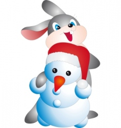 Rabbit and snowman vector