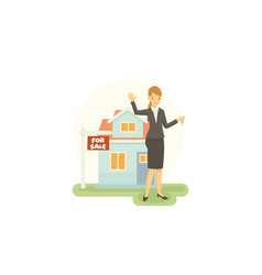 real estate agent are promoting property that he vector image