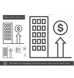 Real estate sale line icon vector