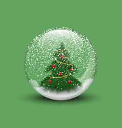 Realistic christmas snow globe with christmas tree vector
