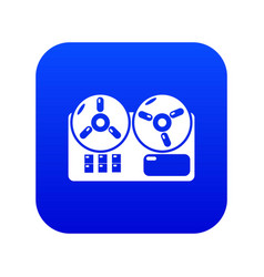Reel tape recorder icon blue vector