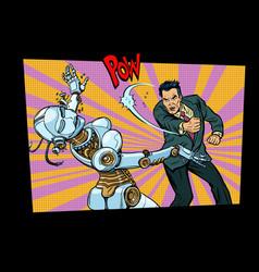 Retro male beats up female robot vector