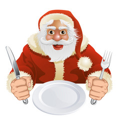 Santa claus seated for christmas dinner vector