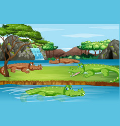 scene with many crocodiles vector image