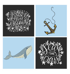 sea cards set with handdrawn sea animals vector image