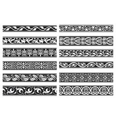 set decorative floral seamless ornamental vector image