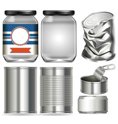 Set different containers made glass and vector