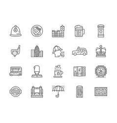 set english culture line icons traditional vector image