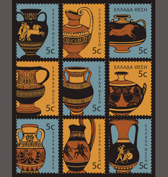 set postage stamps with ancient greek amphorae vector image