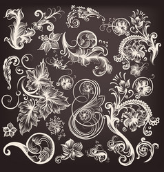 Set swirl flourishes vector