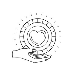 Silhouette hand palm giving a coin with heart vector